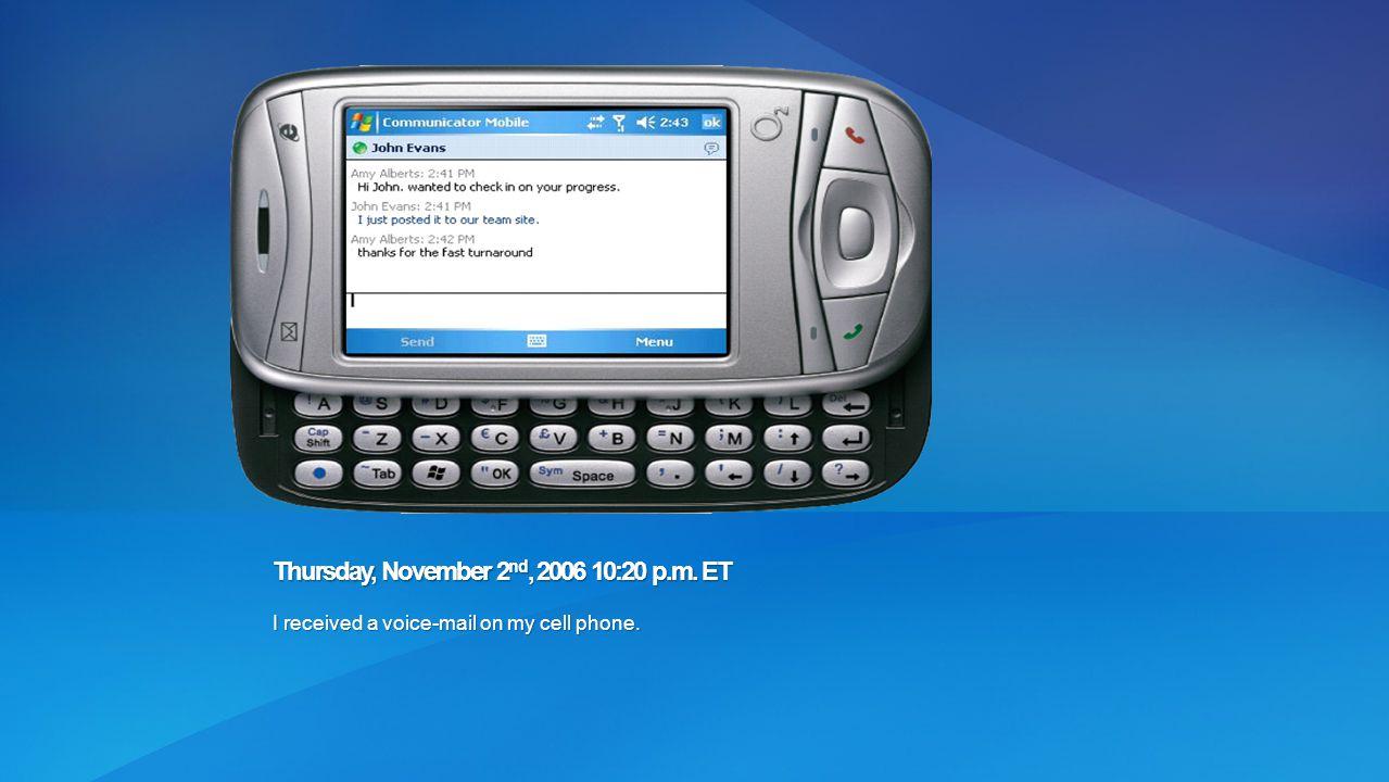 Thursday, November 2nd, 2006 10:20 p.m. ET