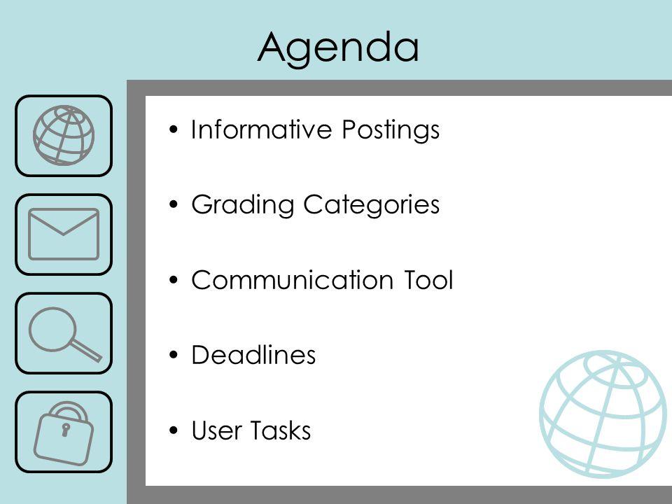 Agenda Informative Postings Grading Categories Communication Tool