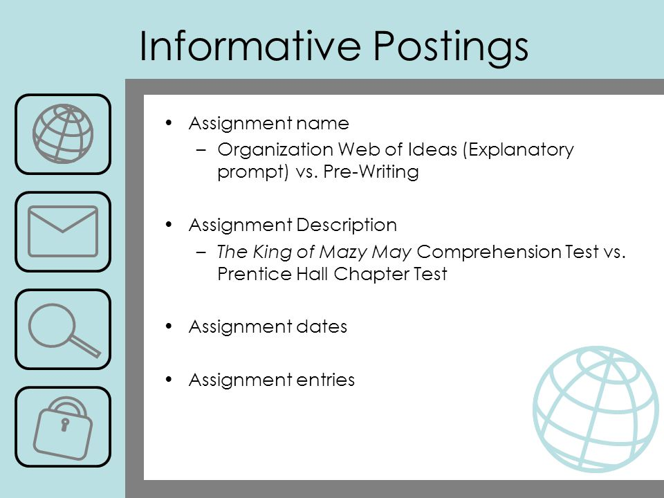 Informative Postings Assignment name