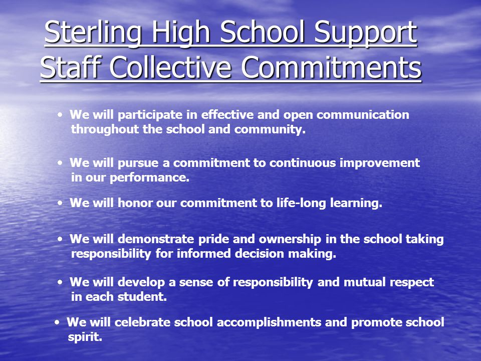 Sterling High School Support Staff Collective Commitments