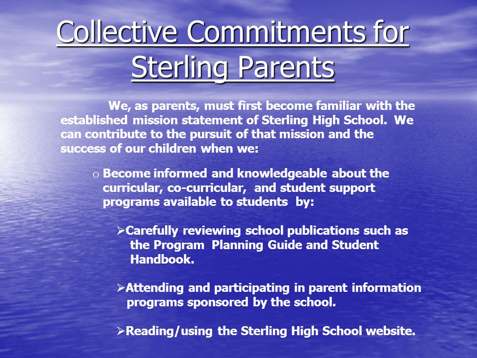 Collective Commitments for Sterling Parents