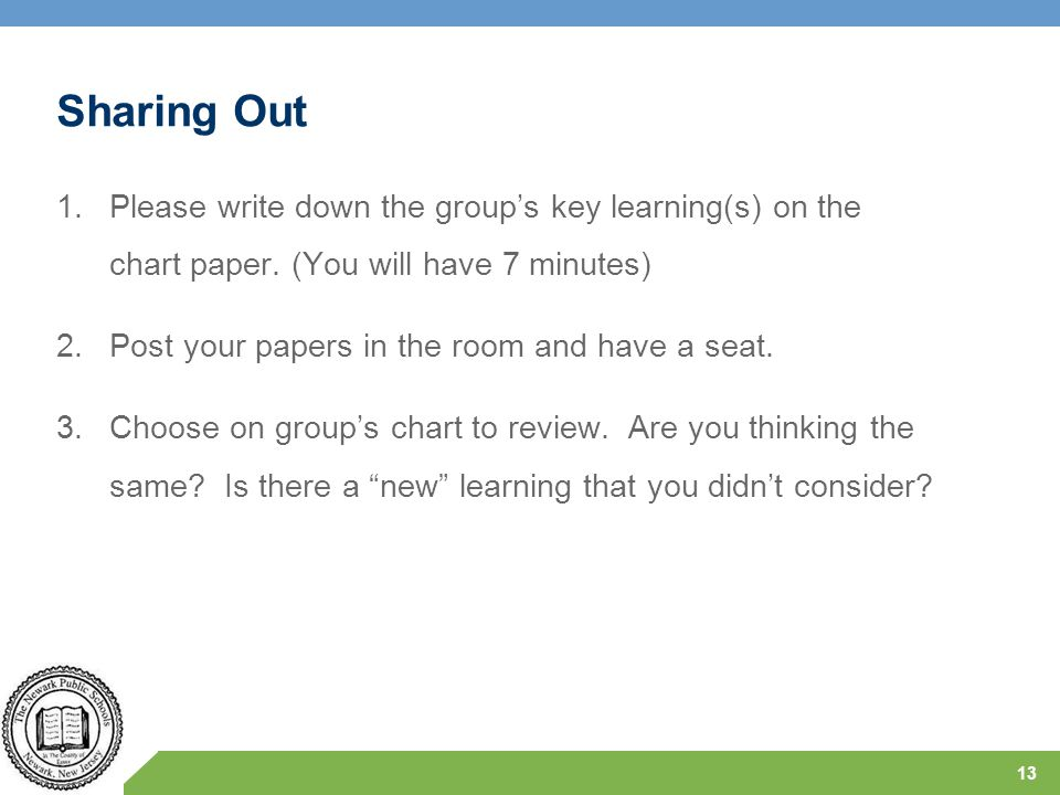 Sharing Out Please write down the group's key learning(s) on the chart paper. (You will have 7 minutes)
