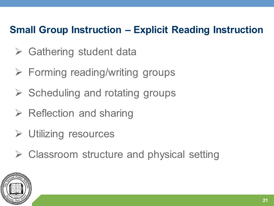 Small Group Instruction – Explicit Reading Instruction