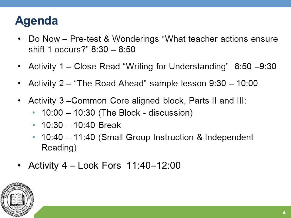 Agenda Activity 4 – Look Fors 11:40–12:00