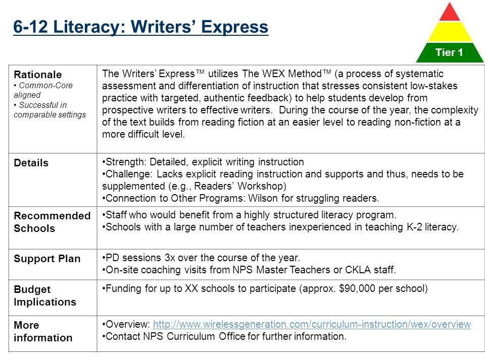 6-12 Literacy: Writers' Express