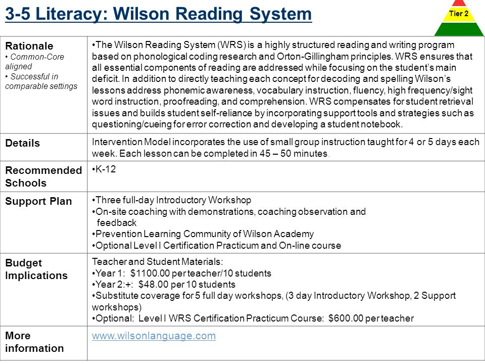 3-5 Literacy: Wilson Reading System