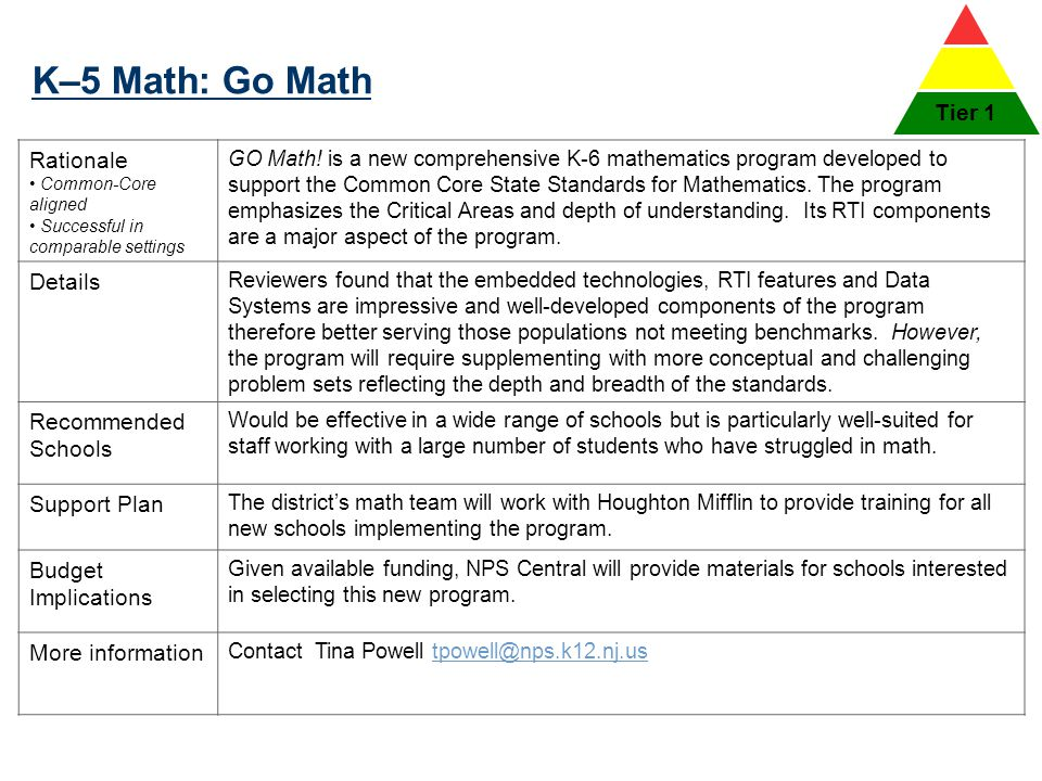 K–5 Math: Go Math Tier 1 Rationale Details Recommended Schools