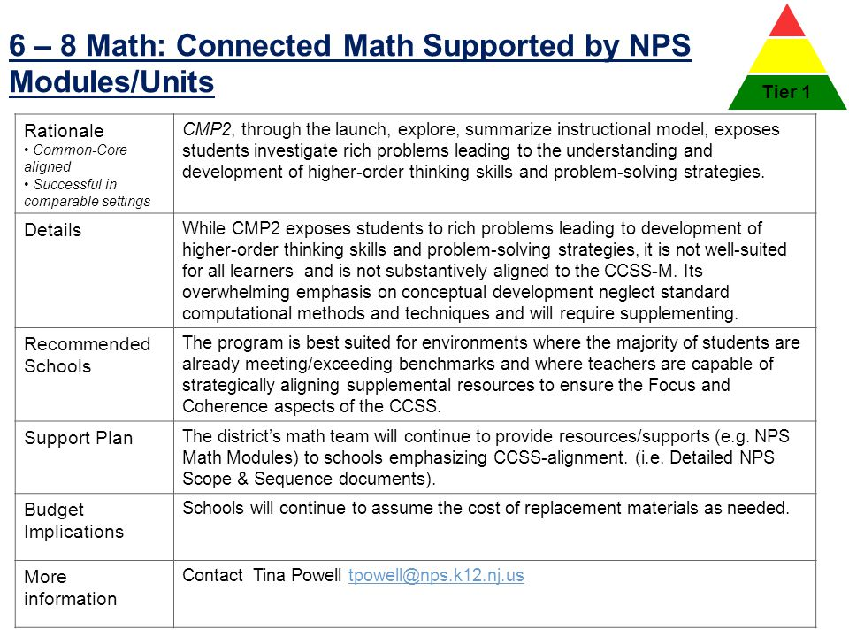 6 – 8 Math: Connected Math Supported by NPS Modules/Units