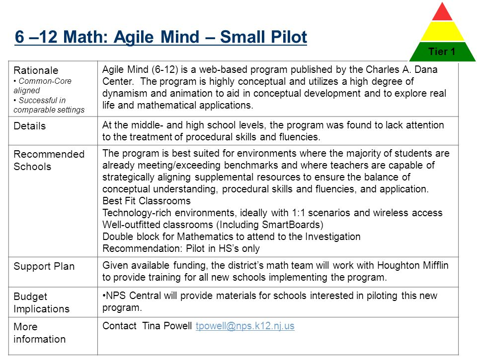 6 –12 Math: Agile Mind – Small Pilot