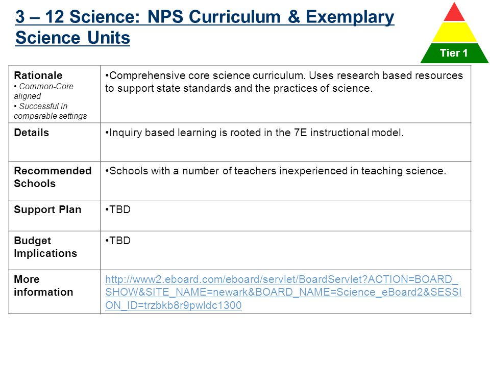 3 – 12 Science: NPS Curriculum & Exemplary Science Units