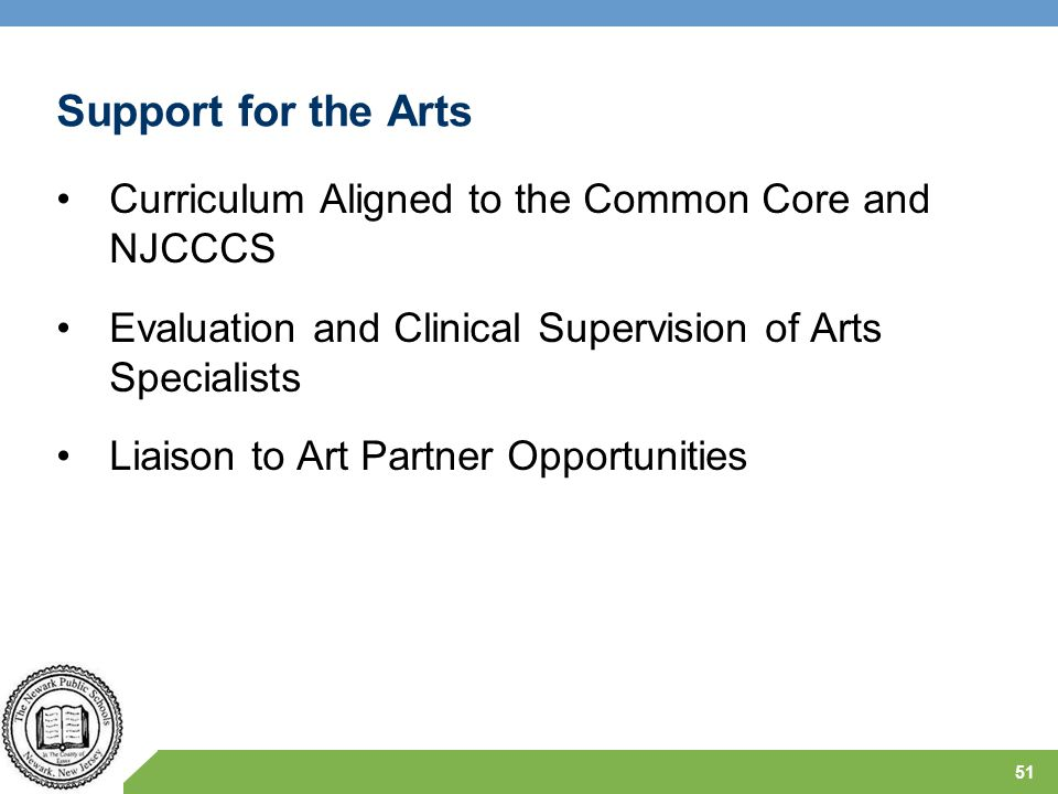 Support for the Arts Curriculum Aligned to the Common Core and NJCCCS