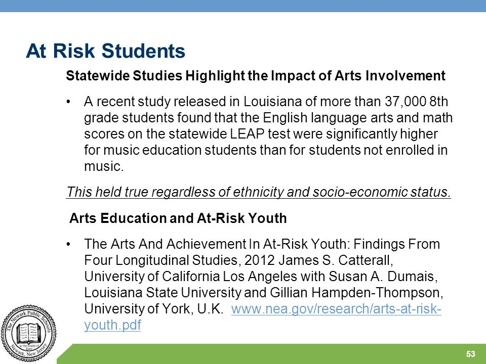 At Risk Students Statewide Studies Highlight the Impact of Arts Involvement.