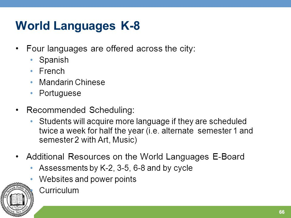 World Languages K-8 Four languages are offered across the city: