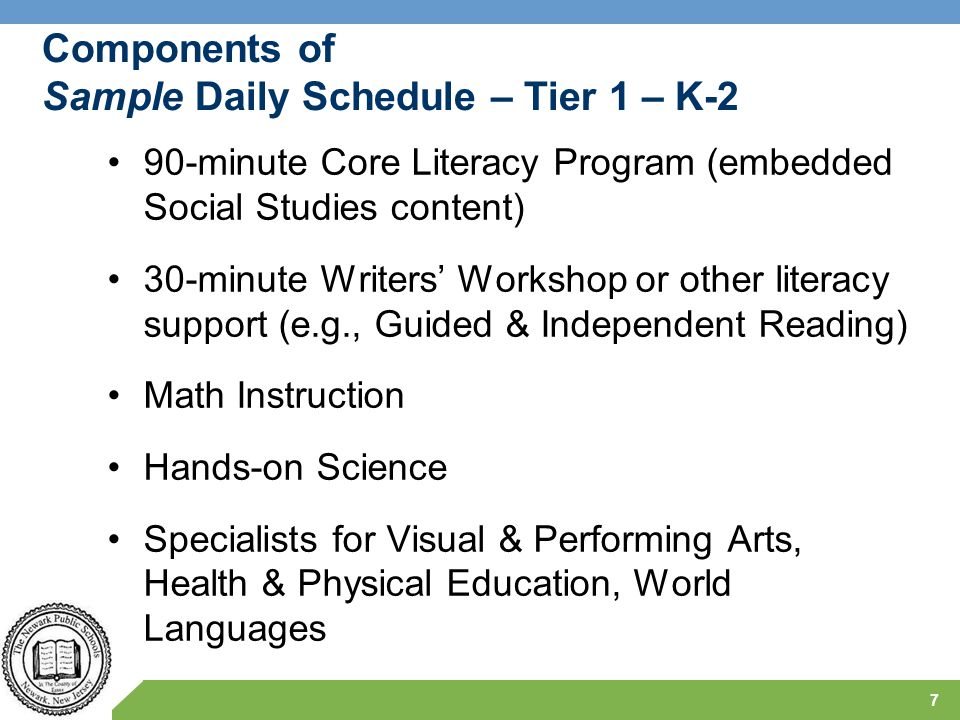 Components of Sample Daily Schedule – Tier 1 – K-2