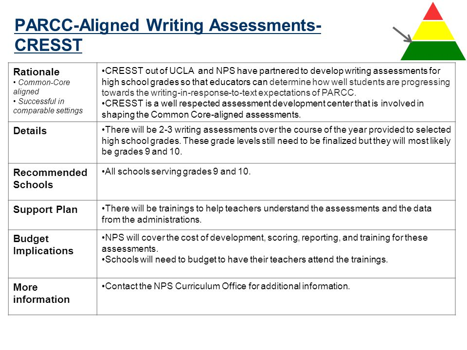 PARCC-Aligned Writing Assessments- CRESST