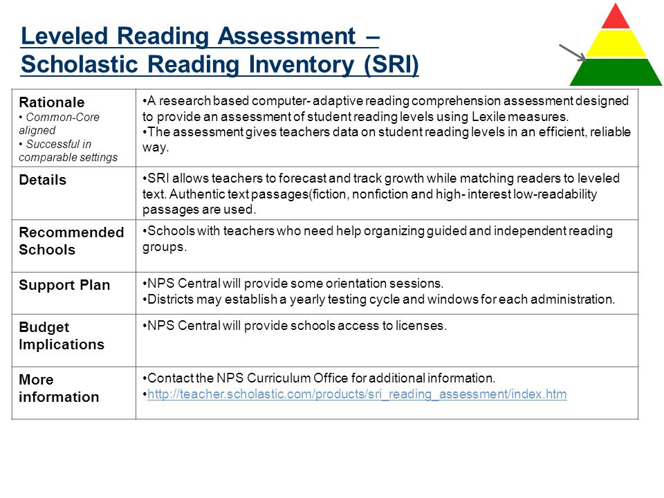 Leveled Reading Assessment – Scholastic Reading Inventory (SRI)
