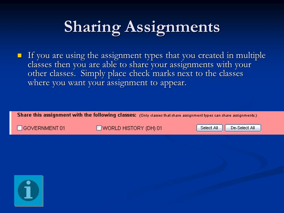 Sharing Assignments
