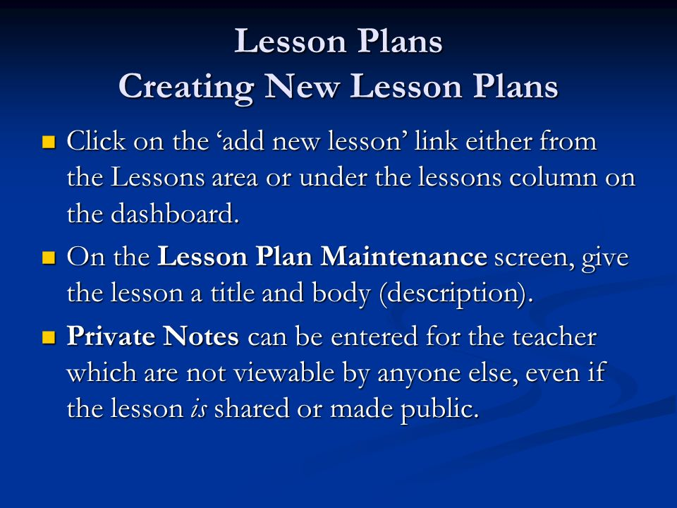 Lesson Plans Creating New Lesson Plans