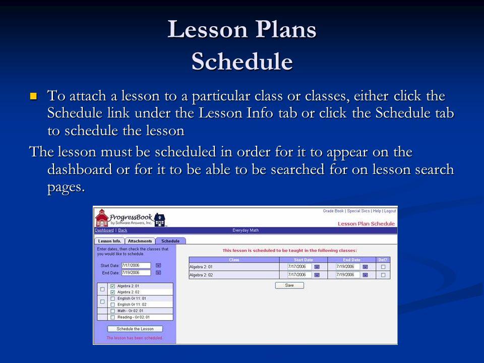 Lesson Plans Schedule