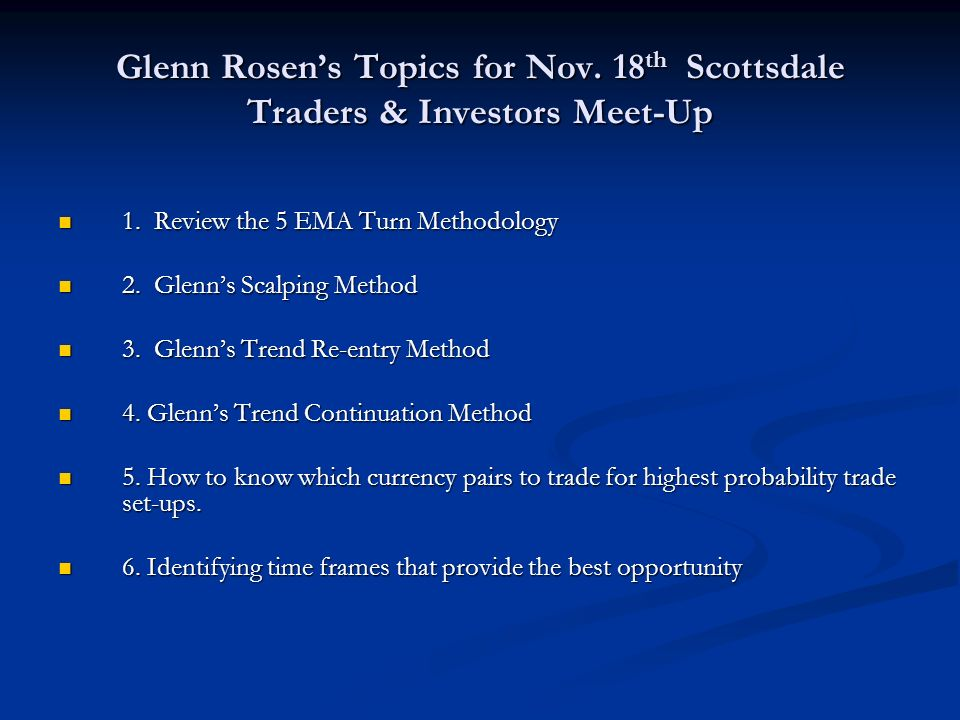 Glenn Rosen's Topics for Nov