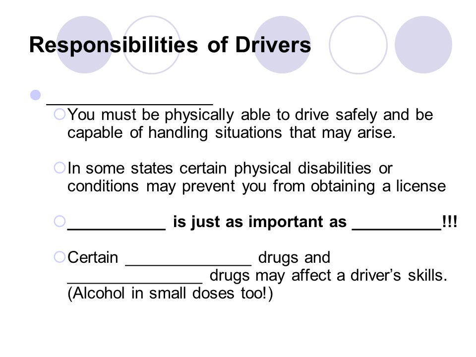 Responsibilities of Drivers