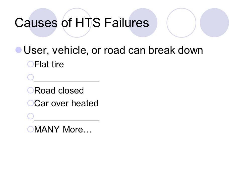 Causes of HTS Failures User, vehicle, or road can break down Flat tire
