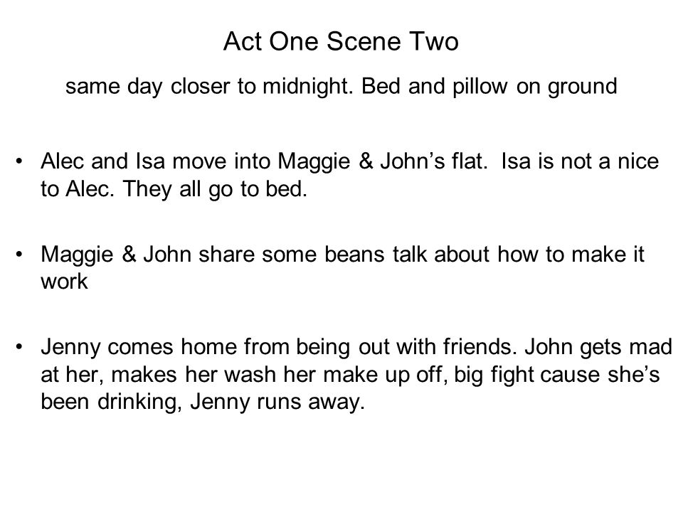 Act One Scene Two same day closer to midnight. Bed and pillow on ground