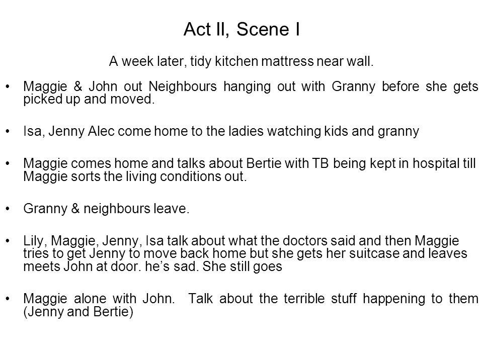 Act II, Scene I A week later, tidy kitchen mattress near wall.
