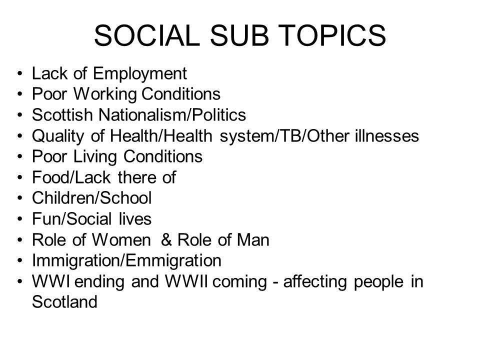 SOCIAL SUB TOPICS Lack of Employment Poor Working Conditions