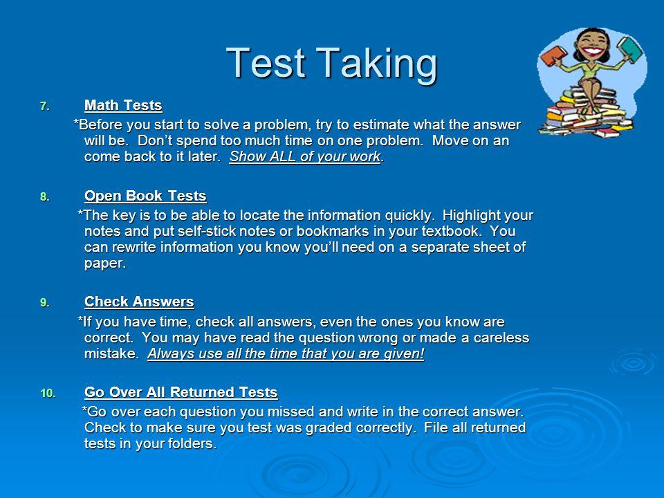 Test Taking Math Tests.