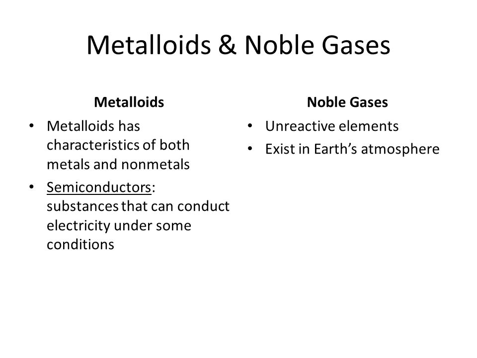 Metalloids & Noble Gases