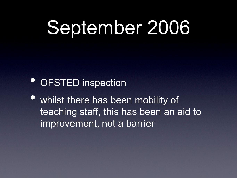 September 2006 OFSTED inspection