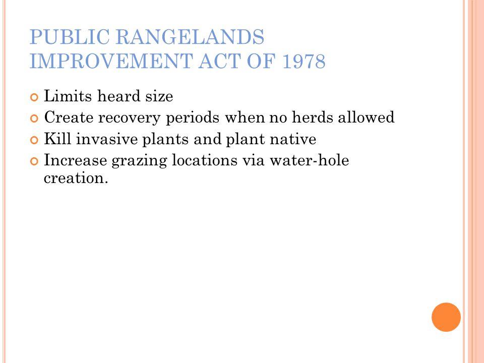 PUBLIC RANGELANDS IMPROVEMENT ACT OF 1978