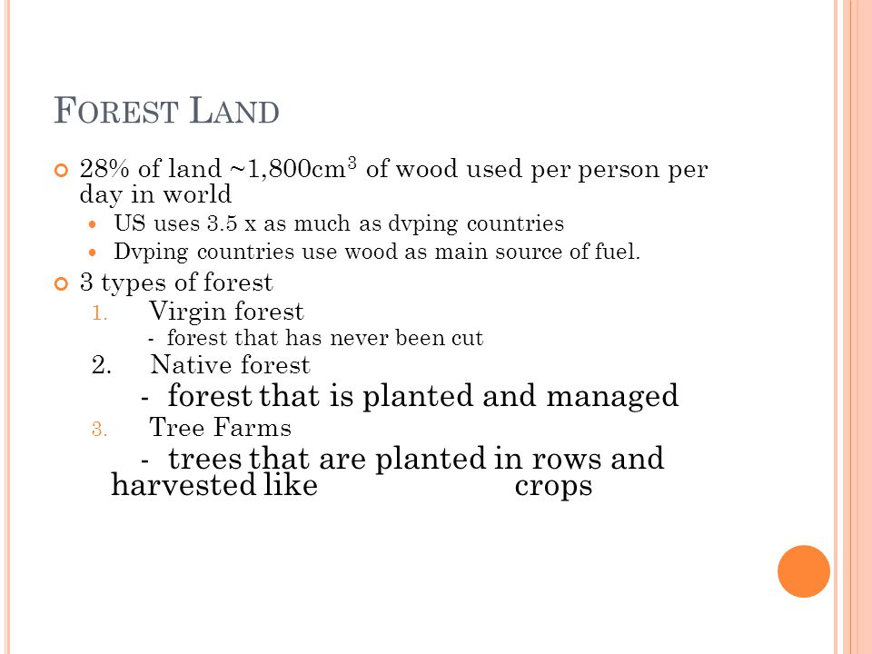Forest Land - forest that is planted and managed
