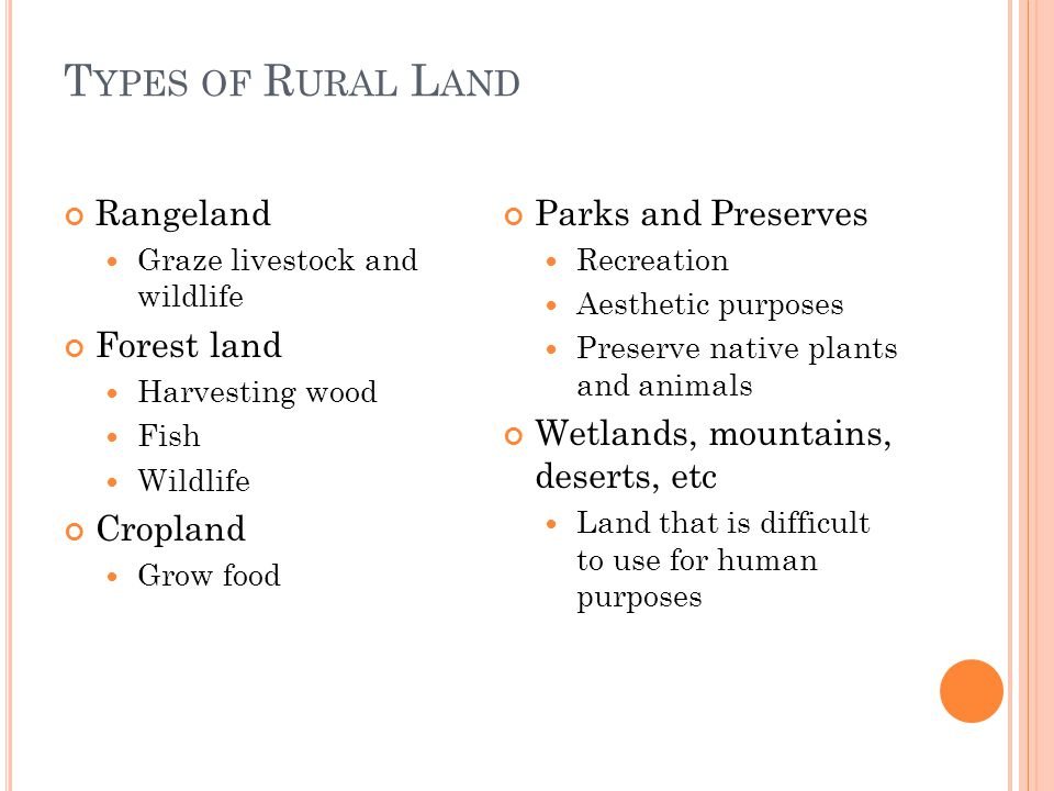 Types of Rural Land Rangeland Forest land Cropland Parks and Preserves
