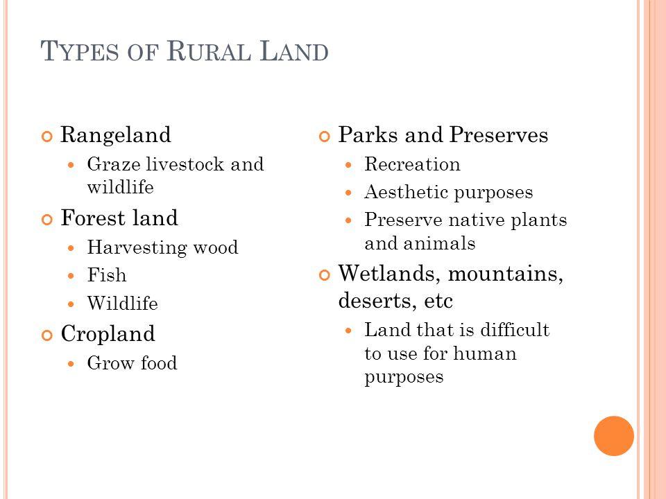 Types of Rural Land Rangeland Forest land Cropland Parks and Preserves