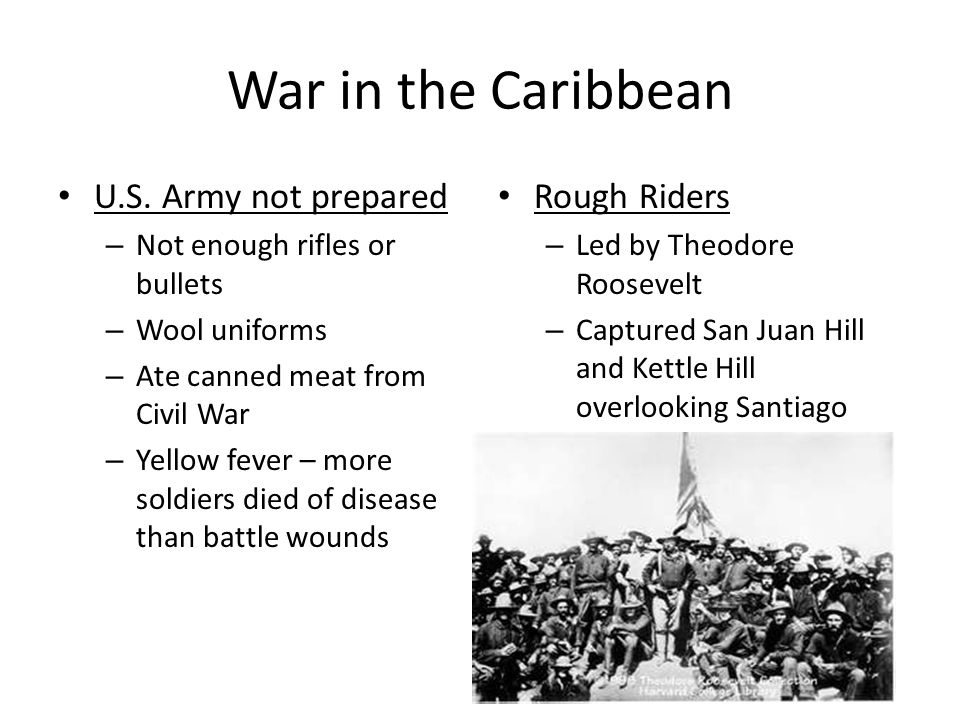 War in the Caribbean U.S. Army not prepared Rough Riders