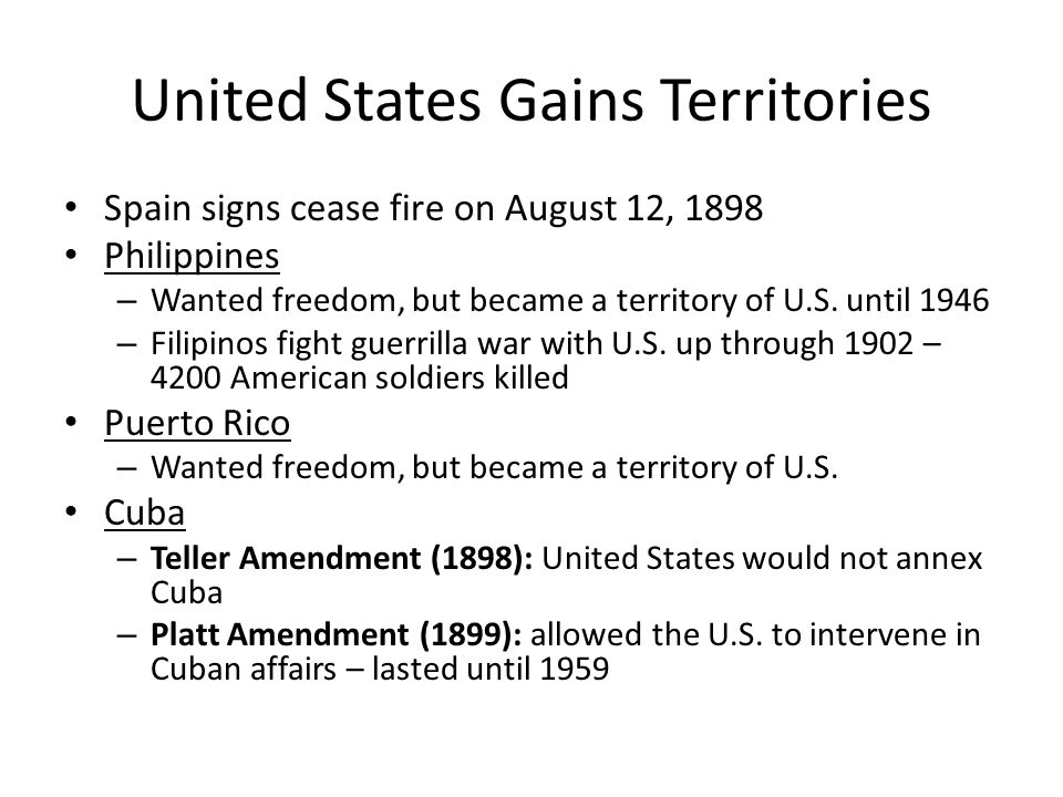 United States Gains Territories
