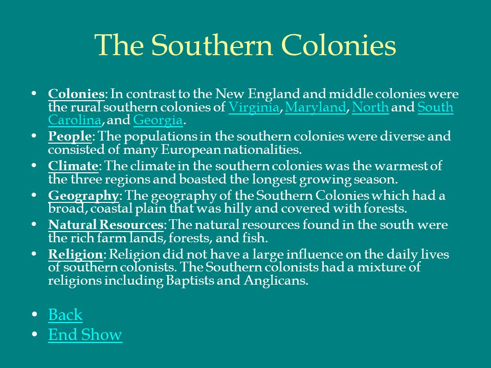 The Southern Colonies Back End Show