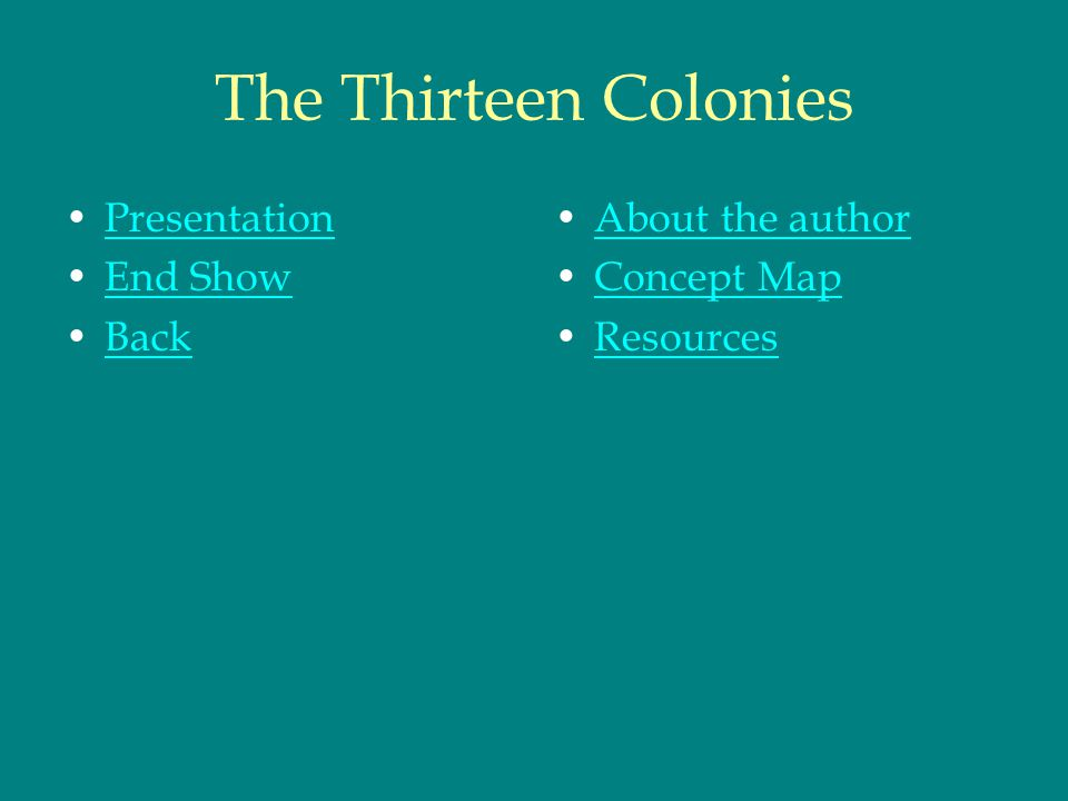 The Thirteen Colonies Presentation End Show Back About the author