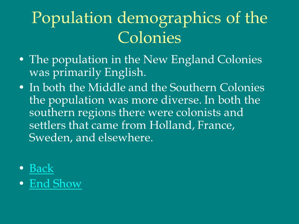 demographics of the northern and southern colonies The southern colonies within british america consisted of the province of  maryland, the  of the province of maryland, the colony of virginia, the province  of carolina (in 1712 split into north and south carolina) and the province of  georgia.