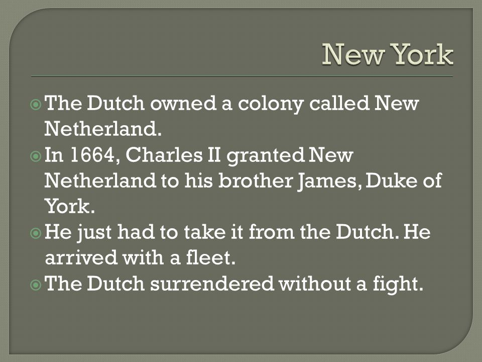 New York The Dutch owned a colony called New Netherland.