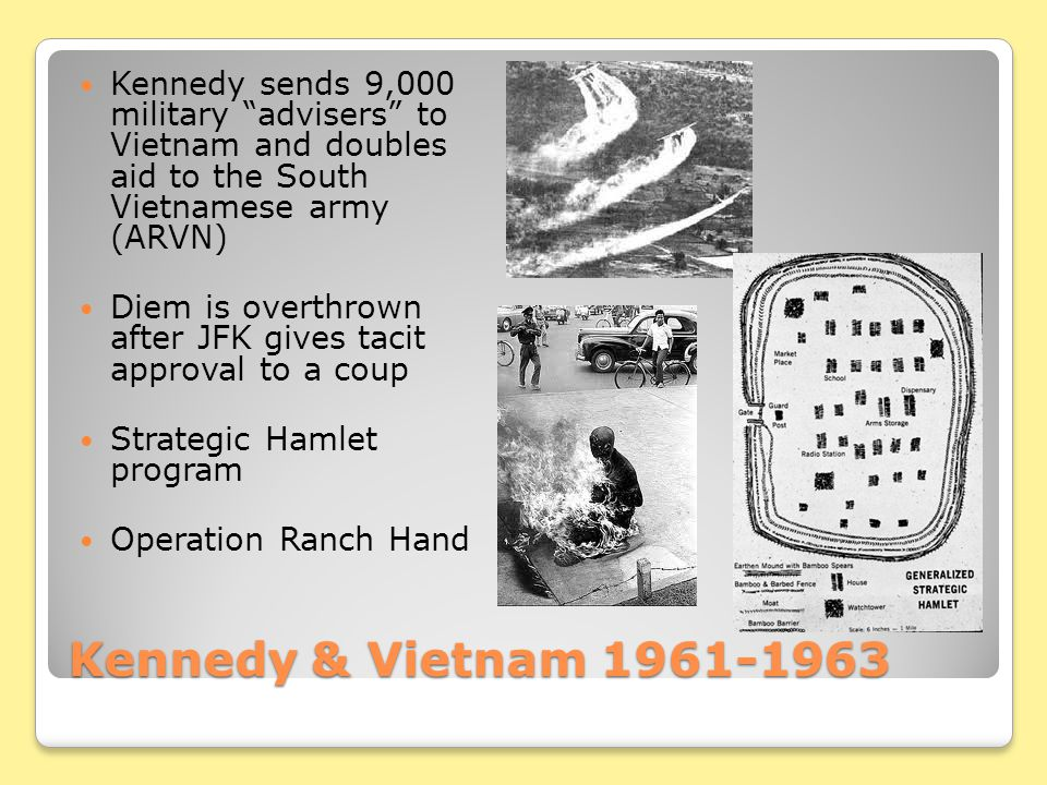 Kennedy sends 9,000 military advisers to Vietnam and doubles aid to the South Vietnamese army (ARVN)