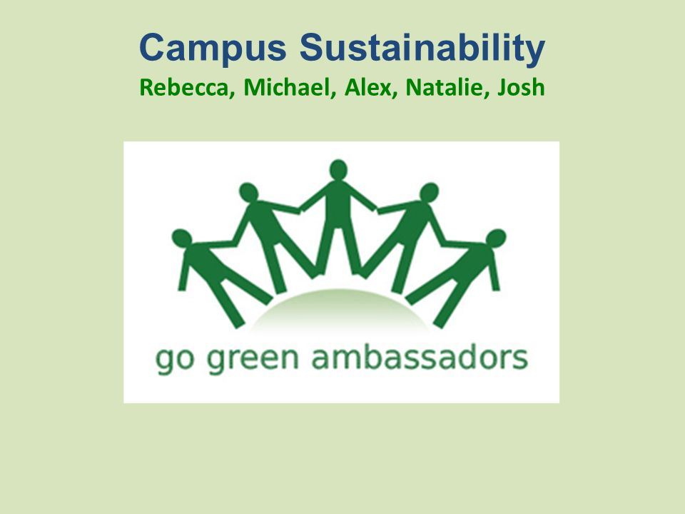 Campus Sustainability Rebecca, Michael, Alex, Natalie, Josh