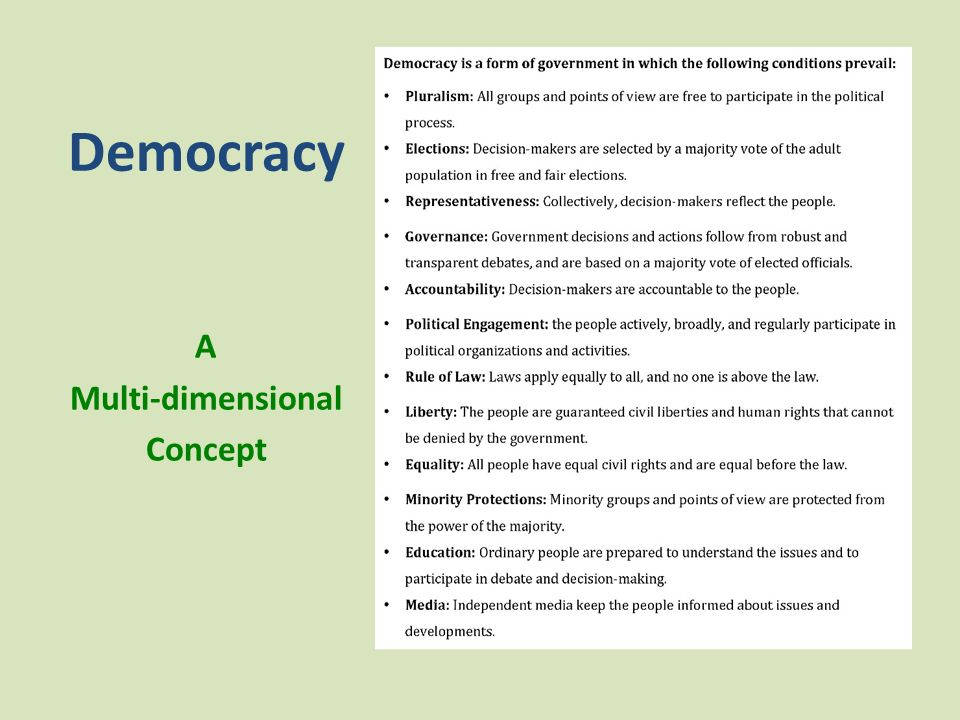 Democracy A Multi-dimensional Concept