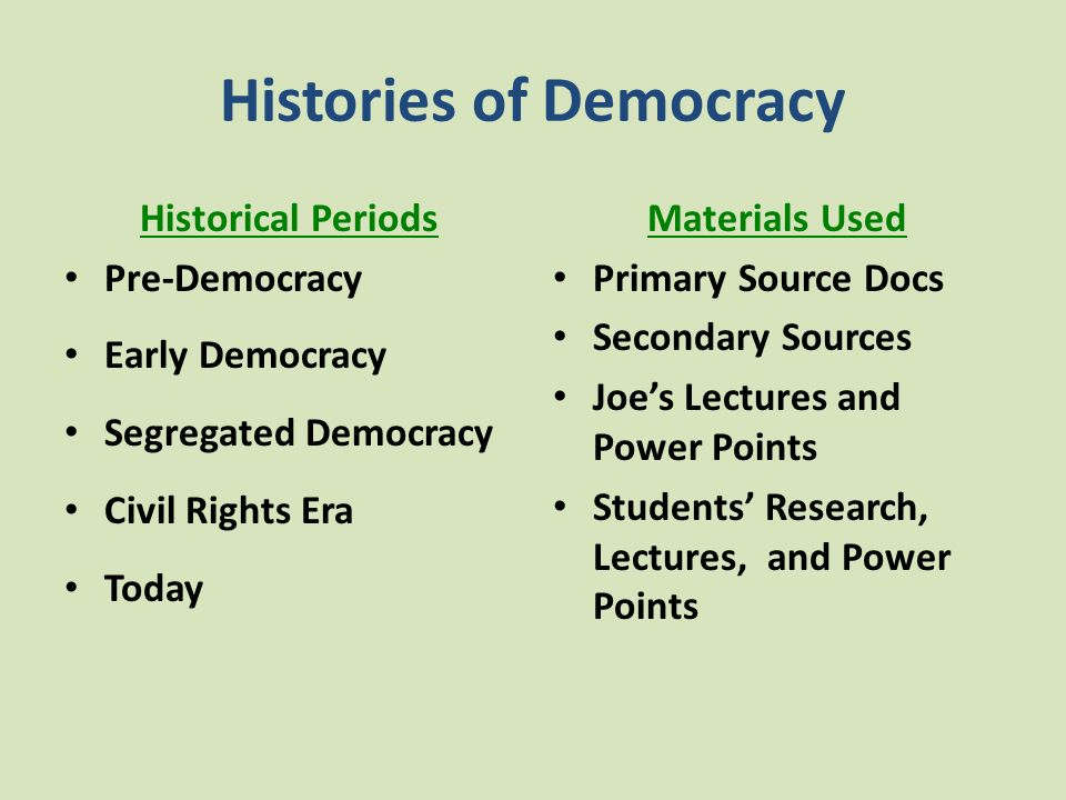Histories of Democracy