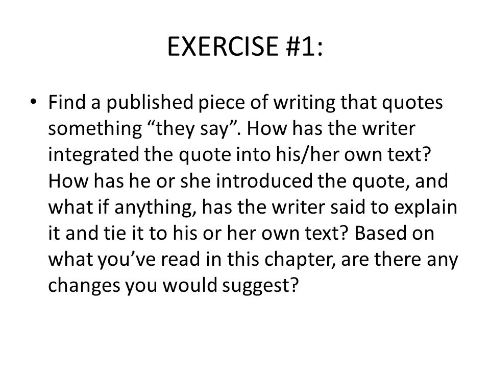 EXERCISE #1: