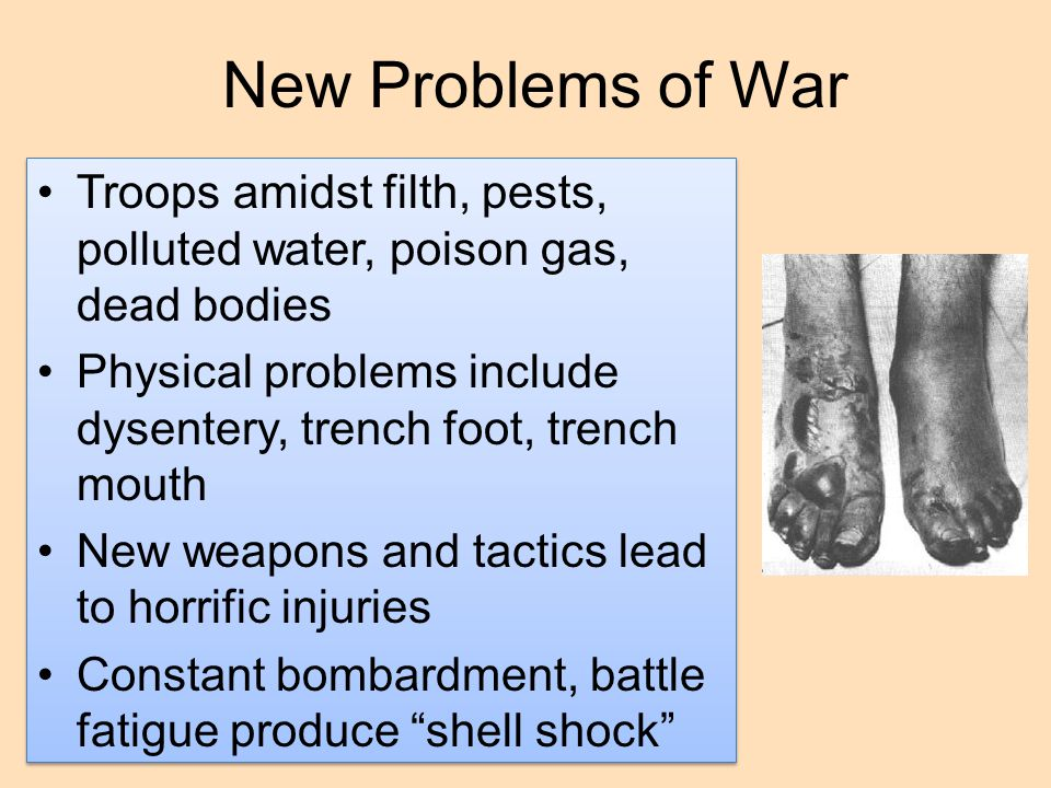 New Problems of War Troops amidst filth, pests, polluted water, poison gas, dead bodies.