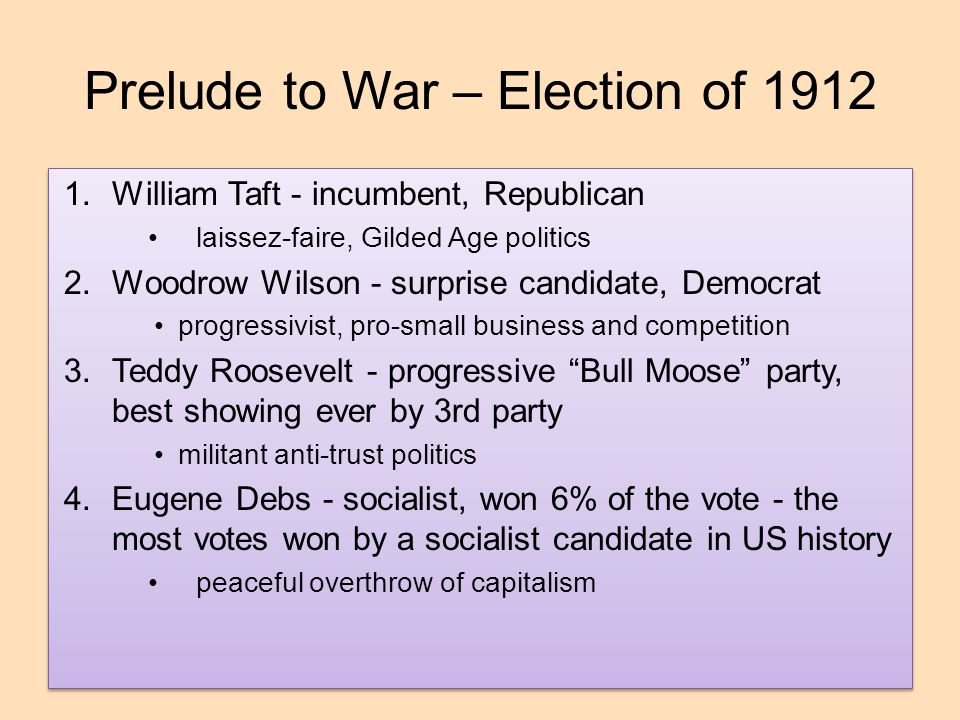 Prelude to War – Election of 1912