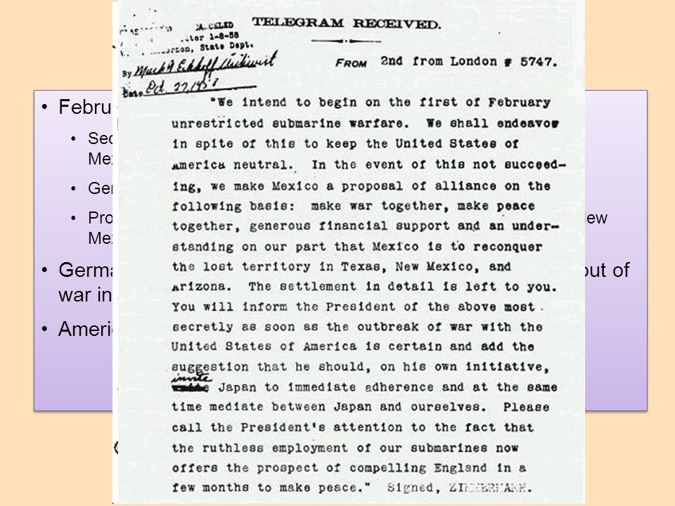 The Zimmerman Note February 1917 - discovery of Zimmermann Note
